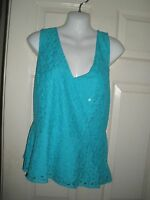 658misses Shirt L Aqua Ceramic Lace Overlay Cross Over Nicole Top