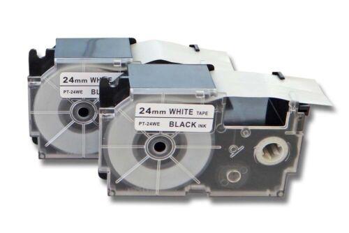 BLACK // WHITE KL-7400 2x LAMINATED TAPE // SCHRIFTBAND 24mm für CASIO KL-820