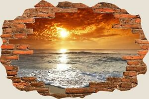 3D-Hole-in-Wall-Exotic-Ocean-Beach-View-Wall-Stickers-Art-Decal-Wallpaper-S84