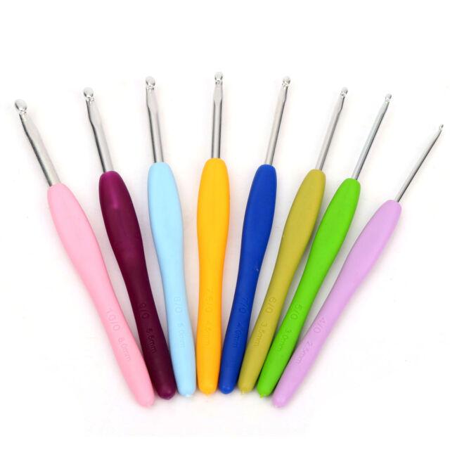 8 Size Multicolor Soft Silicone Handle Aluminum Crochet Hook Knitting Needle Set