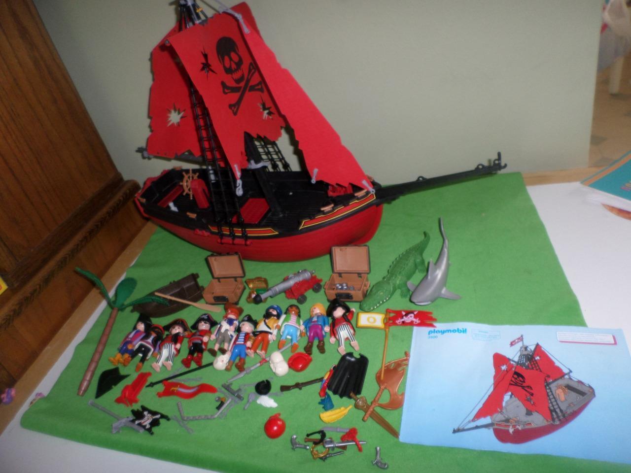 Playmobil Pirate Ship 3900 Instructions cifras Cannon Treasure Skull  LOT RARE  prezzo basso