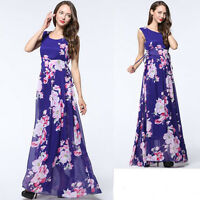 New Women Lady Plus Size Long Maxi Sleeveless Chiffon Summer Evening Party dress