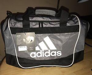 e9173dbfc37d Adidas Defender II Small Duffel Gym Sports Bag In Black Gray White ...