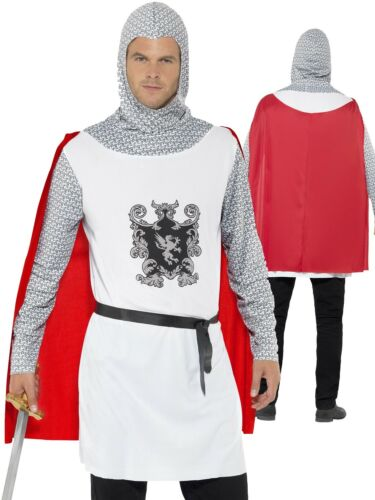 Adult Knight Costume Mens Medieval Crusader Fancy Dress King Arthur New