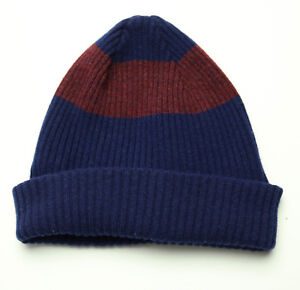 651767cf987 New Paul Smith PS Navy Red Two Tone Stripe Lambs Wool Ribbed Beanie ...