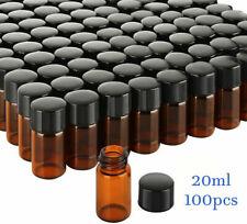 1000pcs 20ml Amber Sample Vialscaps 24 400 Screw Top Glass Bottle Flat Bottom