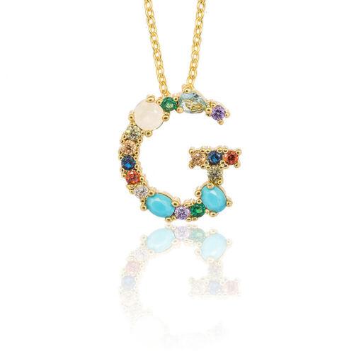 Multicolor CZ Crystal Initial Pendant Necklace 26 Alphabet Letters Gold Color