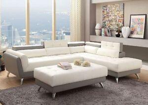2PC Modern Sectional Sofa White/Grey Modern 2-Tone Gray Bonded Leather Adjustabl