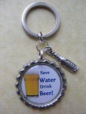 SAVE WATER DRINK BEER Keyring Birthday present bottlecap lager novelty present