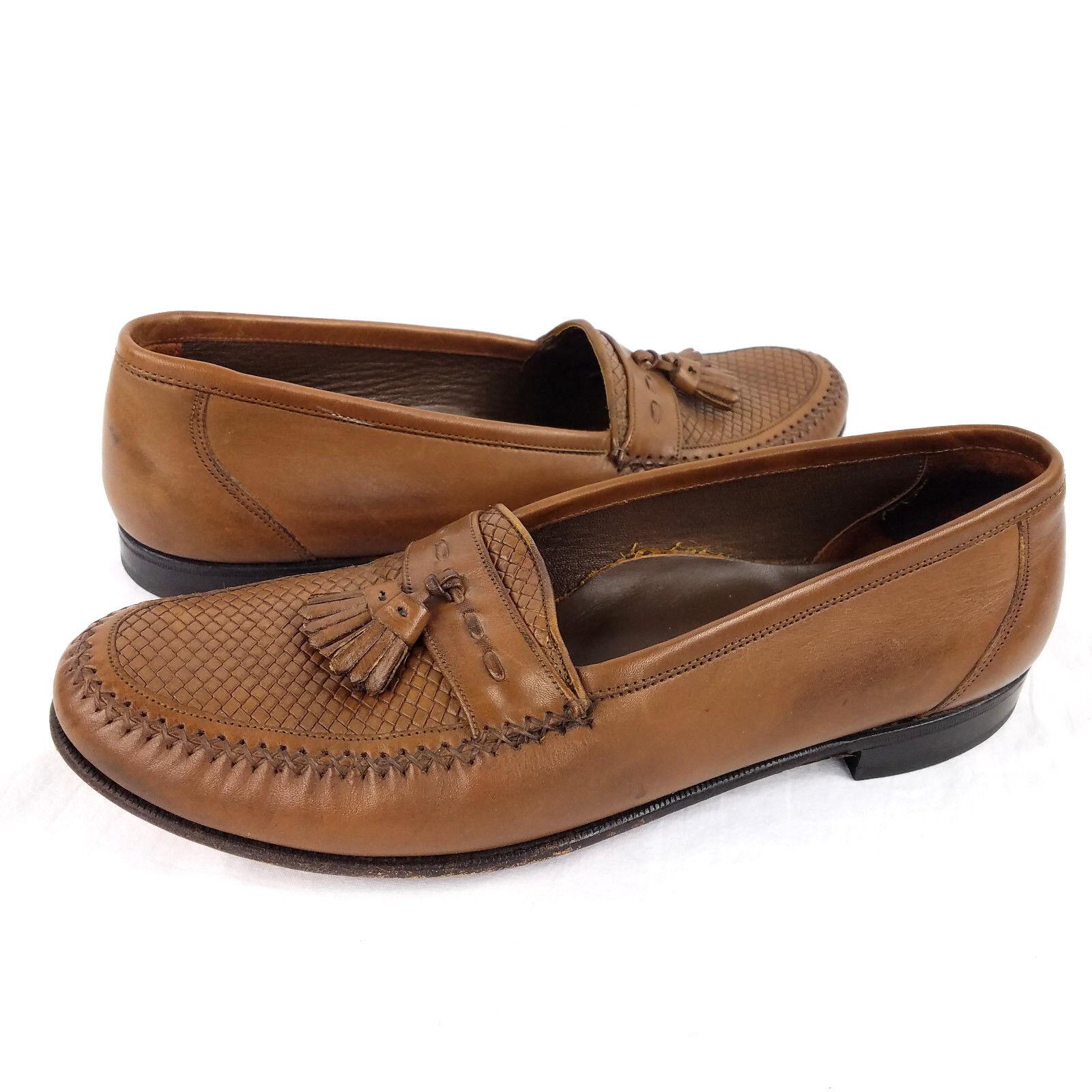 Florsheim Brown Leather Tassel Slip-On Woven Loafer Dress shoes, Mens Size 10.5D
