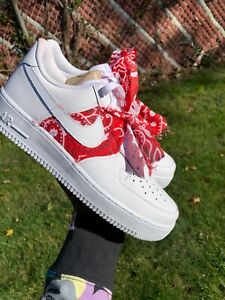 Details about Custom Nike Air Force 1 Red Bandana Low Top