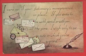 LETTERS-LETTER-WRITING-QUILL-INKWELL-FAYETTE-OH-CLESTIA-HOWARD-POSTCARD