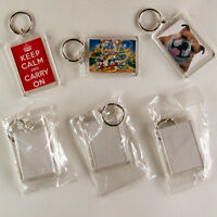 5 BLANK photo LARGE DIY Keyrings-Make your own!!!-50mmx35mm