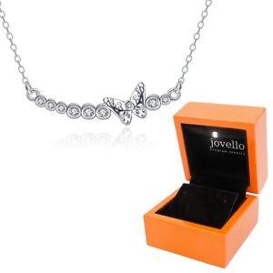 Schmetterling-Zirkonia-Halskette-Kette-Anhaenger-aus-925-Silber-LED-Holzbox