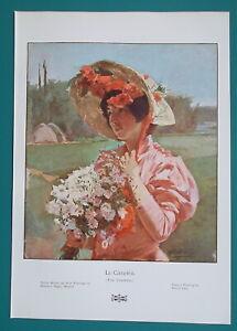 LOVELY-GIRL-Bouquet-of-Field-Flowers-Fancy-Hat-1904-COLOR-Art-Nouveu-Era-Print