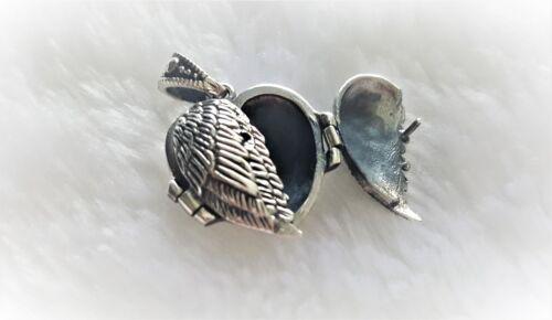 925 Sterling Argent Ailes d/'ange médaillon cœur pendentif gardien Memorial Cadeau 9 G