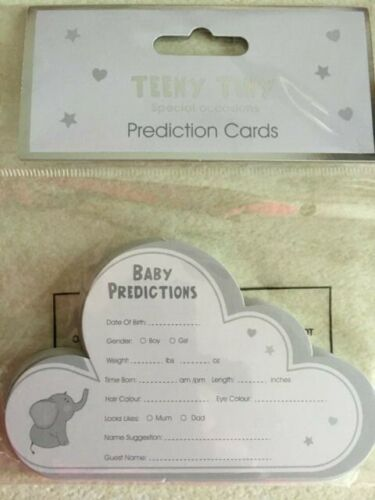 20 Baby prediction cards grey cloud shape with elephant theme baby shower game