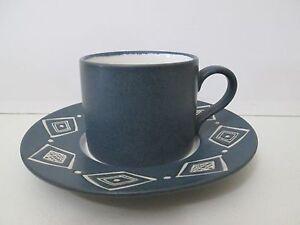 POTTERY BARN BONGO BLUE CUP & SAUCER - 2 3/4\
