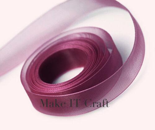 6 metres 3-4 Organza  Ribbon 22 colours 22mm Chiffon