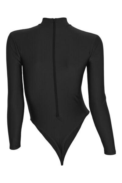 Damen Stringbody lange Ärmel Rücken-RV Schwarz leotard stretch glänzend shiny