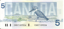 Bank of Canada 1986 $5 Five Dollars Crow-Bouey ENB Prefix UNC First Issued
