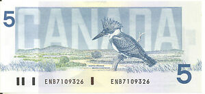 Bank-of-Canada-1986-5-Five-Dollars-Crow-Bouey-ENB-Prefix-UNC-First-Issued