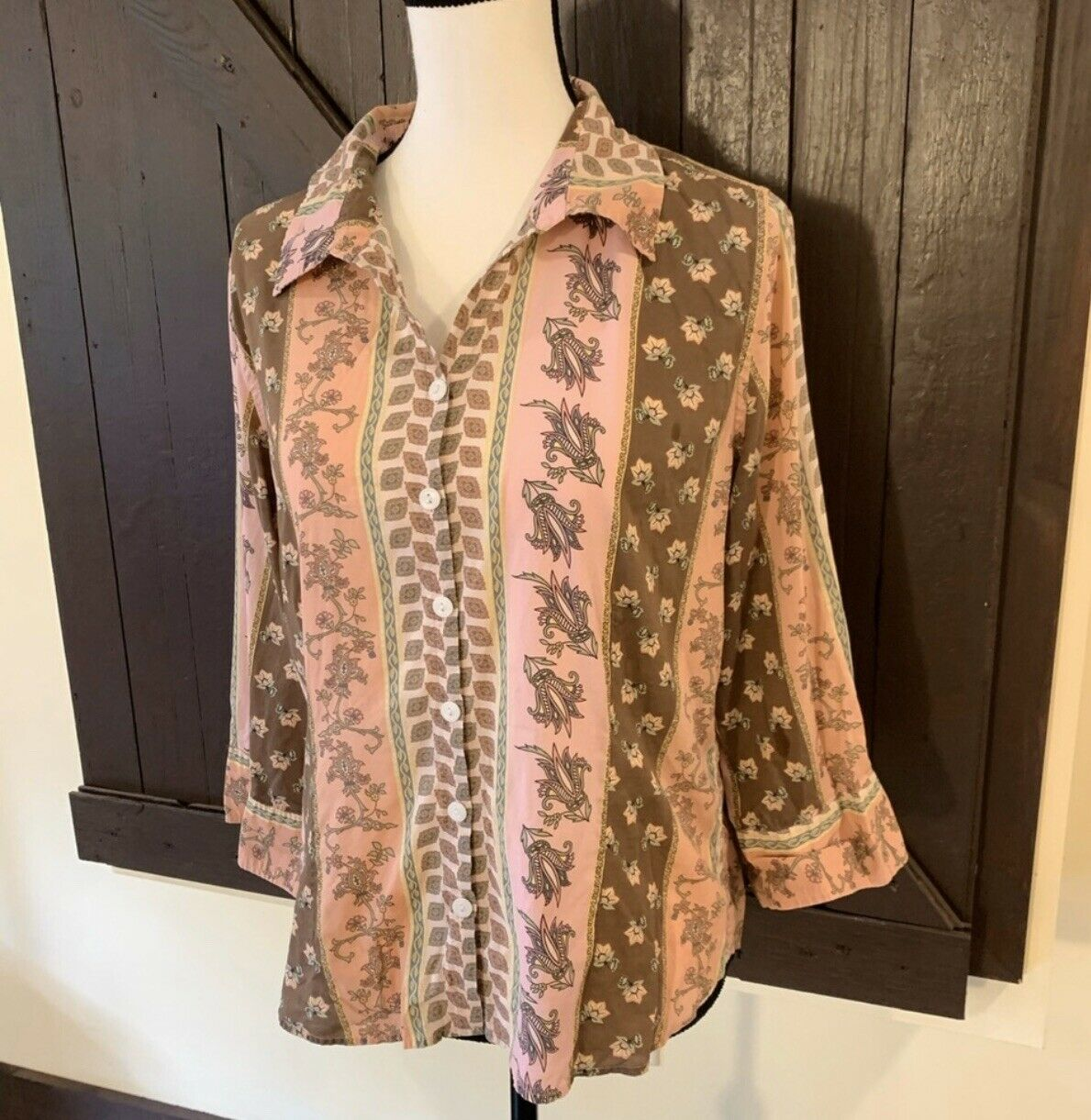 Christopher & Banks Floral Paisley Button-Up, Siz… - image 2