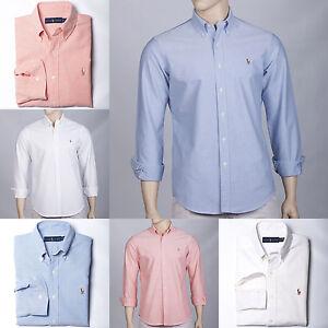 9a882fba2 POLO by Ralph Lauren Mens Cotton Oxford Sport Shirt Blue White Pink ...