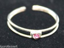 New Thai Silver Pink Heart Gem Adjustable Toe Finge Open Ring / Rings