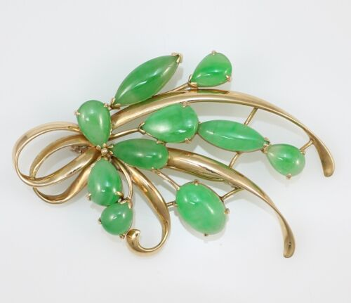 Gump's of San Francisco 14K Yellow Gold Green Jade