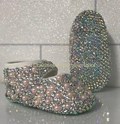 christening //bridesmaid //new born gift Baby Bling Pearl Pram Shoes brand new