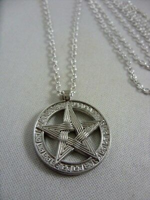"New 25mm Pentacle Pentagram Star Tibetan Silver Charm Pendant 30"" Chain Necklace"