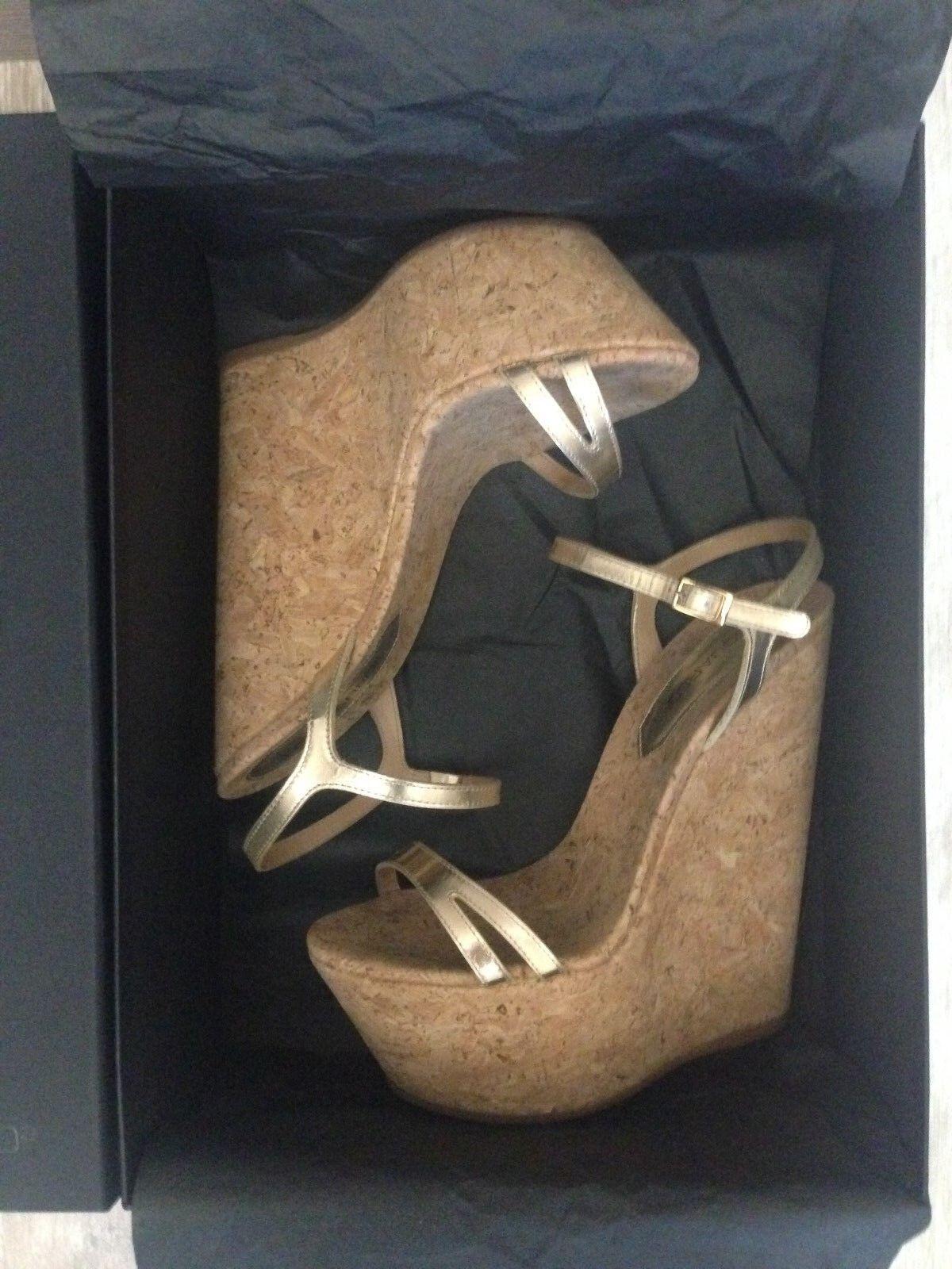 Auth Stunning Dkvadrat2 Mycket hög plattform Cork Wedge Sandals Storlek EU 36
