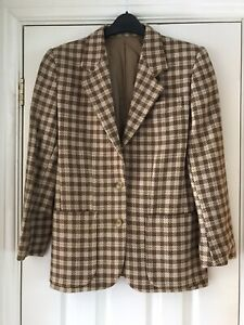 Vintage Austin Reed Options Brown Check Wool Blazer Jacket Size Uk 8 Bloggers Ebay