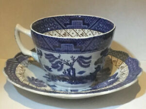 Vintage Booths Real Old Willow Pattern A8025 Tea Cup Saucer Ebay