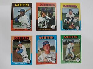 1975-Topps-Baseball-6-Card-Lot-New-York-Mets-Very-Good-to-Excellent-NRMT