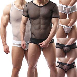 Details about Sexy Men s Mesh Underwear Undershirt T-shirt Top Boxer Briefs  G-string Thongs 8a9b36849