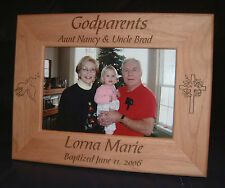 Personalized Engraved Godparents Baptism 4x6 Frame Keepsake