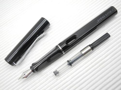 5 Black Cartridges Jinhao 599B Medium Fine Nib Fountain Pen w// Ink Converter B