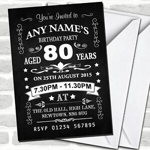 Details About Vintage Chalkboard Style Black And White 80th Birthday Party Invitations