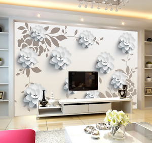3D White Petal Leaves 123 Paper Wall Print Wall Decal Wall Deco Indoor Murals