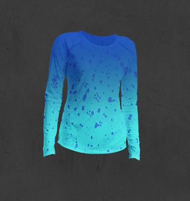 Huk Performance Fishing Ladies Large Longsleeve Shirt NWT Blue Water Print Gray