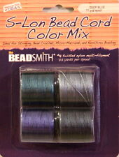 "S-LON, Bead Cord, 4 Color Mix ""DEEP BLUE"", Extra Heavy #18 Twisted Nylon Cord"