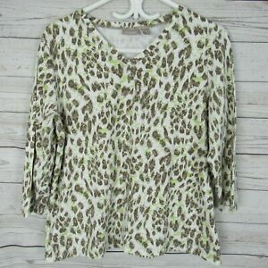 Chicos-2-Top-Womens-White-Brown-Green-Animal-Print-V-Neck