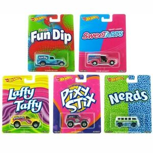 HOT-WHEELS-2017-POP-CULTURE-NESTLE-CANDY-SERIES-5-CAR-SET-G-CASE-NEW-IN-STOCK