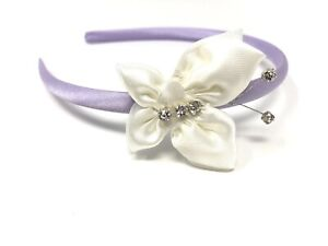 Burgundy Satin Hairband Alice Band Ivory Butterfly Bridesmaid Flower Girl