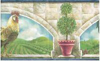 Rooster Under Archway Plant In Jar Grape Farm Wallpaper Border Wall Decor Decor