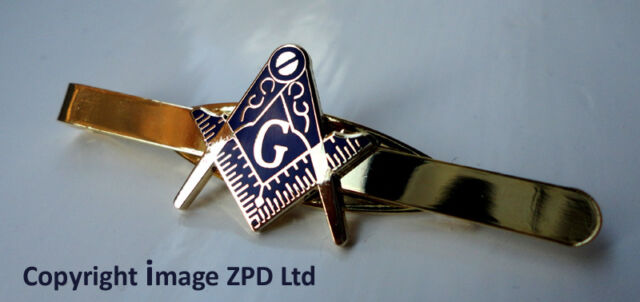 ZP256 Masonic Masons Tie Pin Bar Freemason Square Compass Vintage Style with G