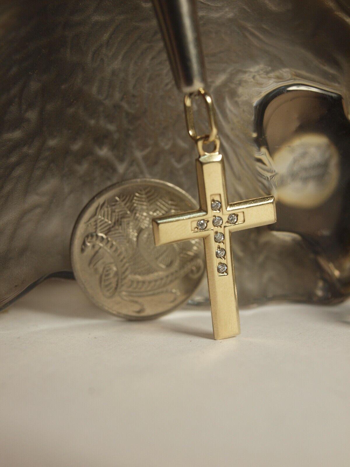 GENUINE   SOLID 9K YELLOW gold - CROSS PENDANT WITH ZIRCONIA