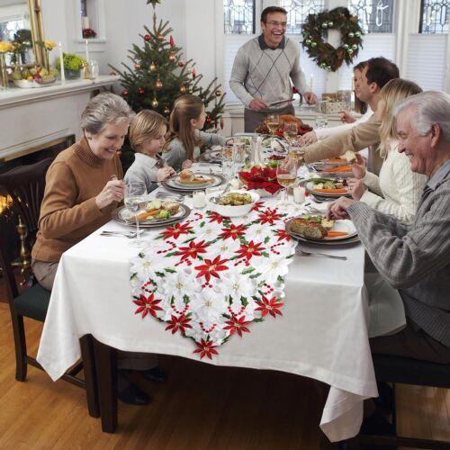 Embroiderd Christmas Poinsettia Table Runner Party Wedding Tablecloth Home Decor